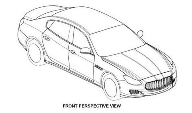 Maserati Quattroporte patent drawing Front 7/8 View