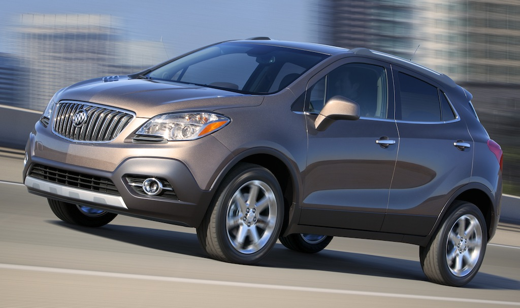 2013 Buick Encore in Cocoa Silver Front Quarter Action Angle