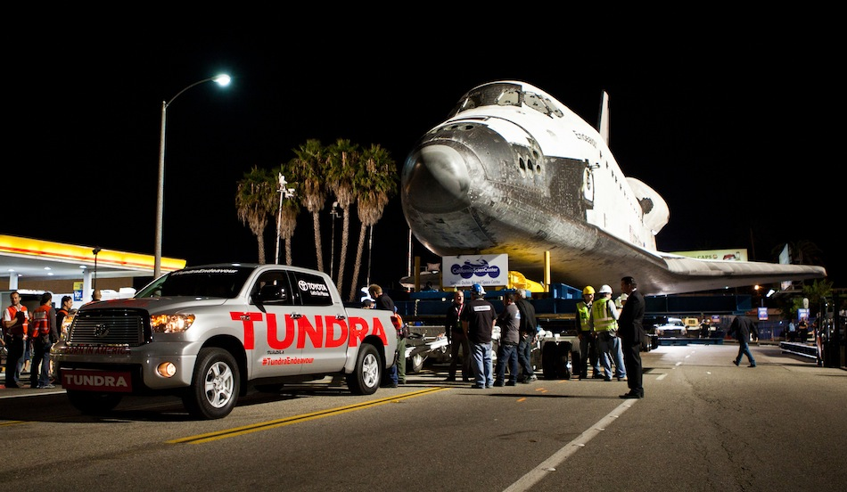Toyota Tundra helps tow Endeavour Side View