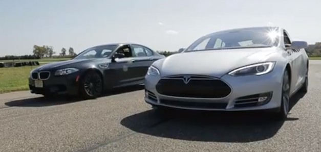 Tesla Model S takes on BMW M5 in a drag race
