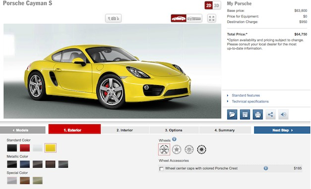 Build Your Own 2014 Porsche Cayman