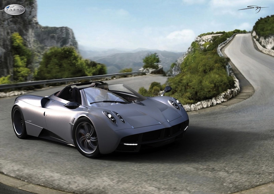 Photo Renderings: Pagani Huayra Roadster Black 3/4 Action Angle