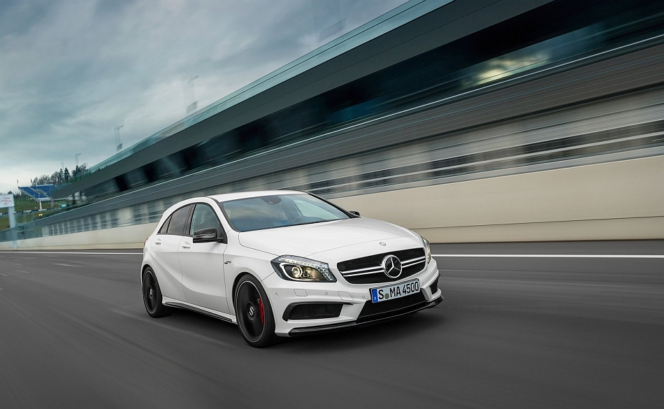 2014 Mercedes-Benz A45 AMG Front 3-4 Right Track Cruising