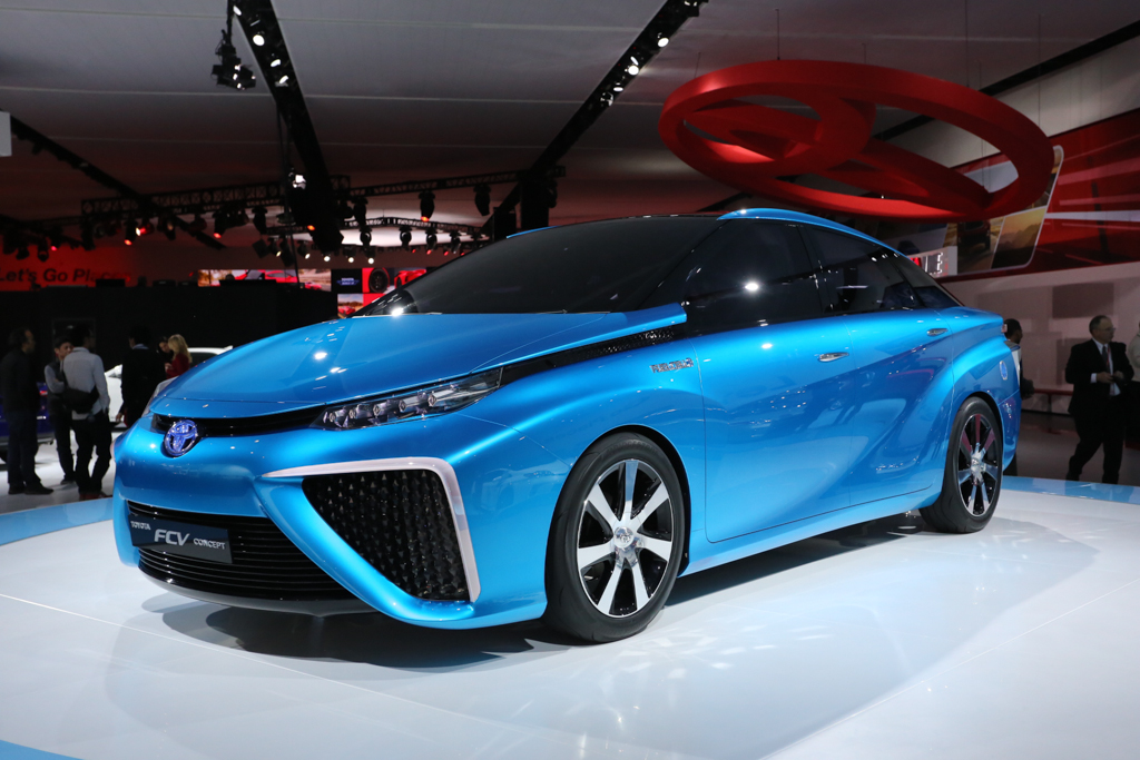 Toyota's first production, mass market, hydrogen fuel cell car.