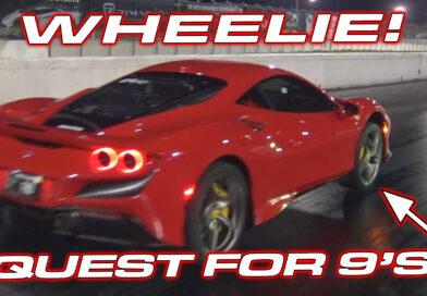 Ferrari F8 Set's new 1/4 Mile Record Lifting the Front Wheels