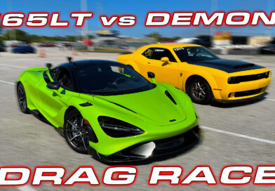 McLaren 765LT vs Dodge Demon 1/4 Mile Drag Race